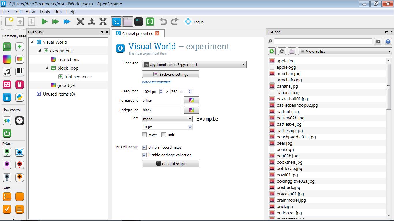 Visual world // OpenSesame documentation